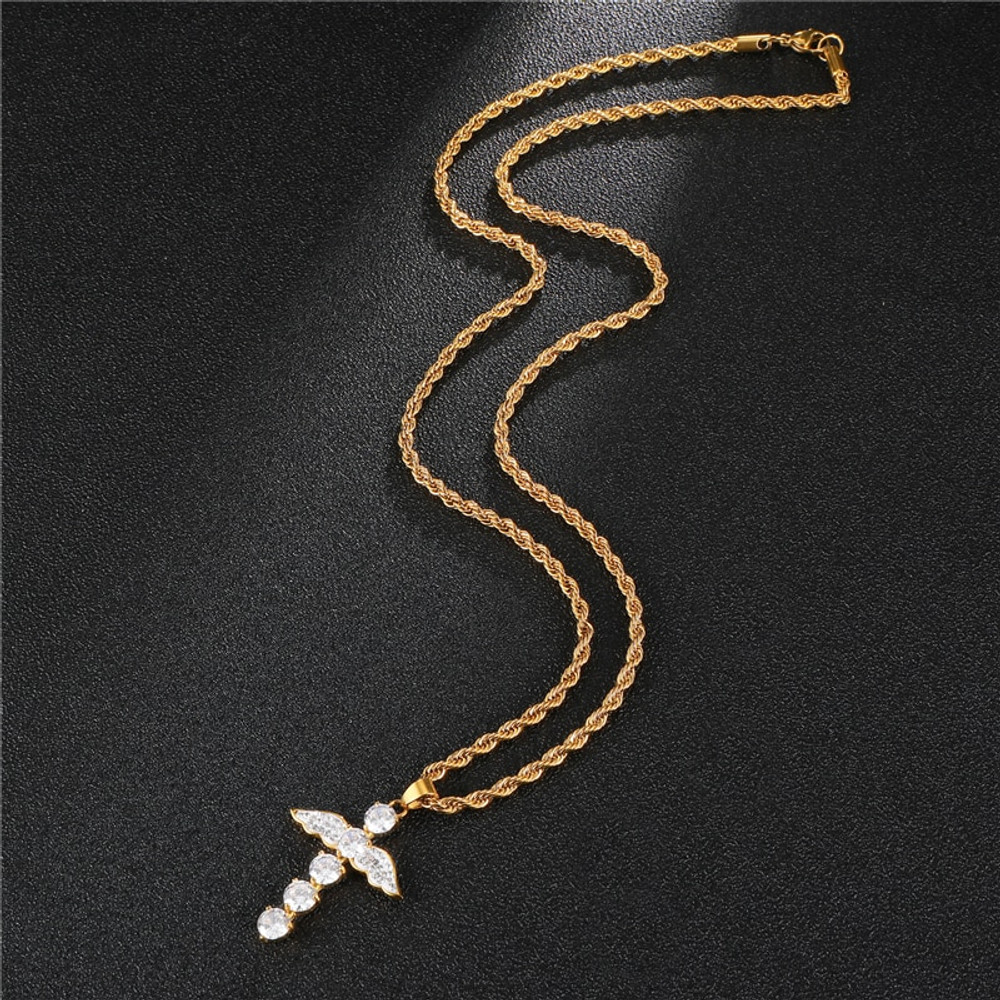 14k Gold Silver Stainless Steel Angel Wings Iced Out Bling Cross Pendant