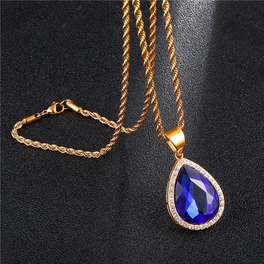 Tear Drop 14k Gold Stainless Steel Gemstone Lab Diamond Chain Necklace