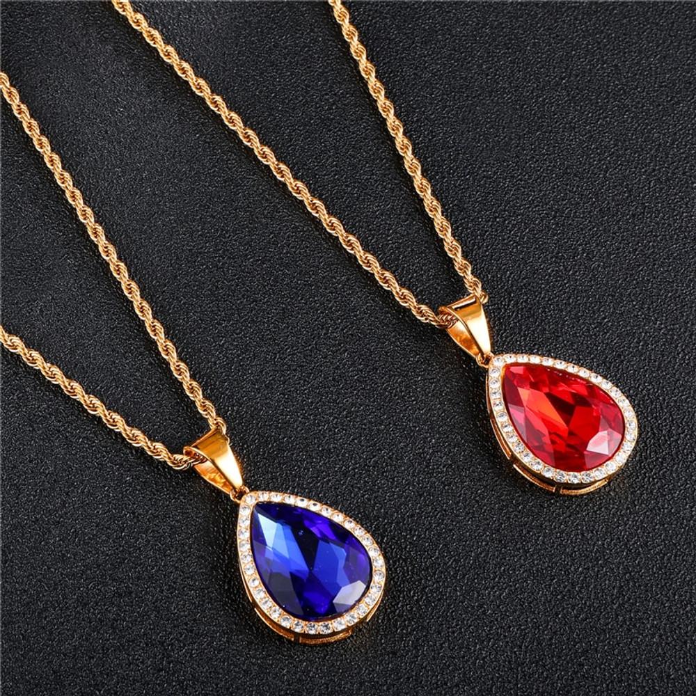 14k Gold Stainless Steel Gemstone Pendant