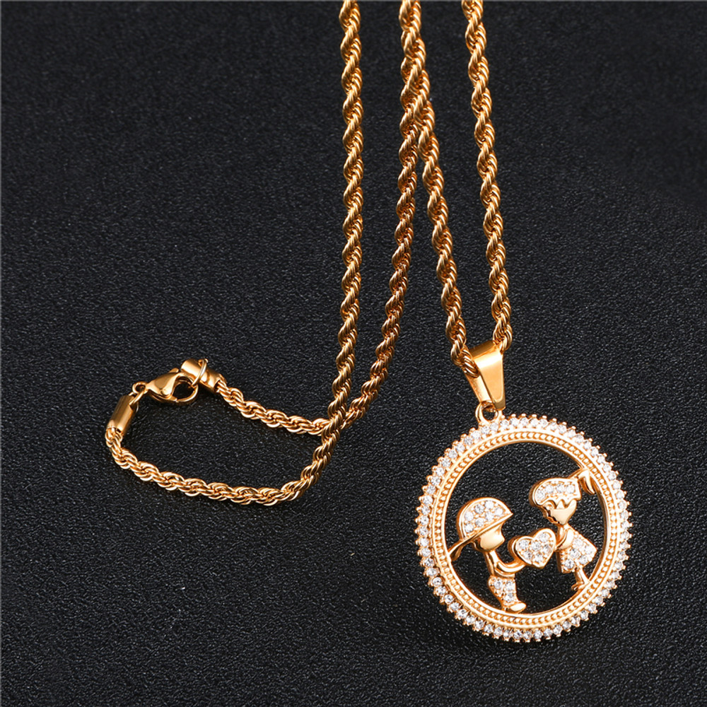 Round Heart Shape Bling Iced Out Lab Diamond Lovers Gift Stainless Steel Pendant Chain Necklace