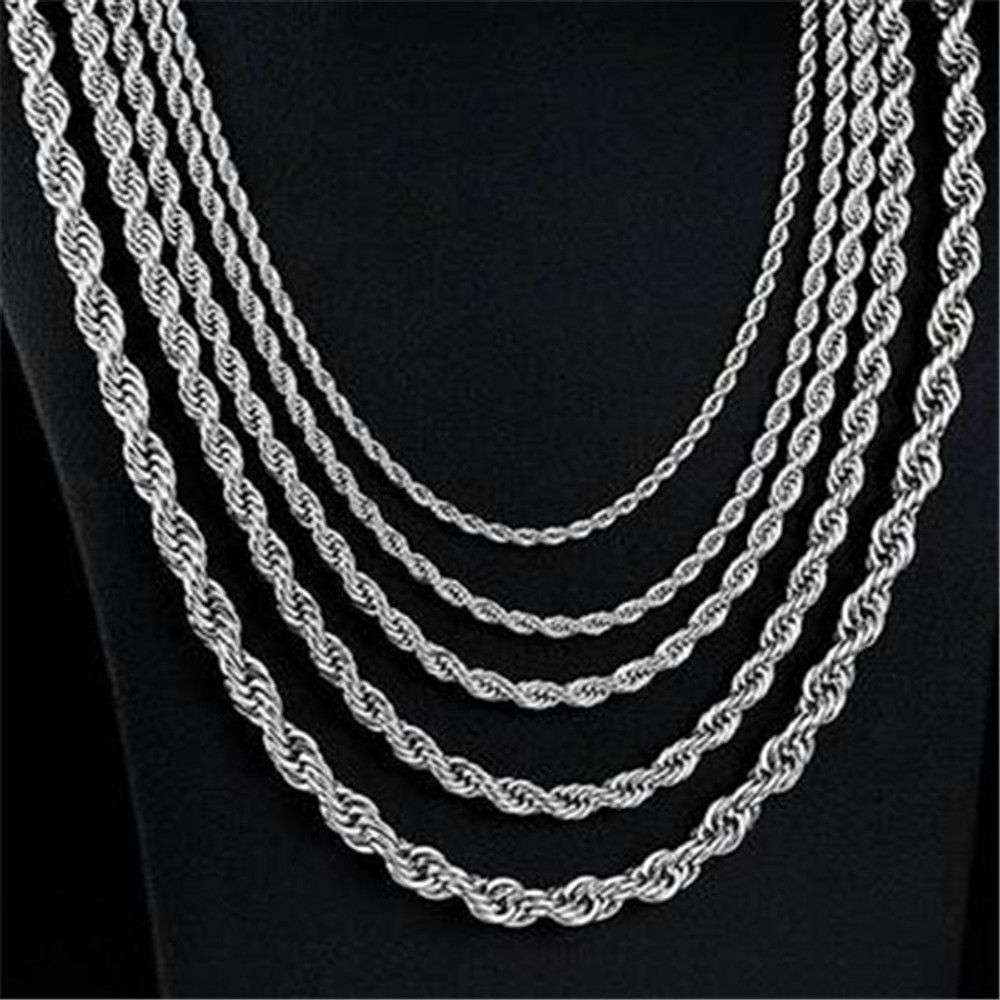 3mm 4mm 5mm Gold Silver 316L Stainless Steel Rope Chain Necklace