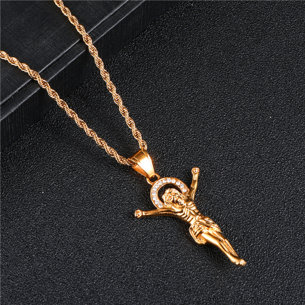The Son 14k Gold Stainless Steel Jesus Piece Hip Hop Bling Pendant