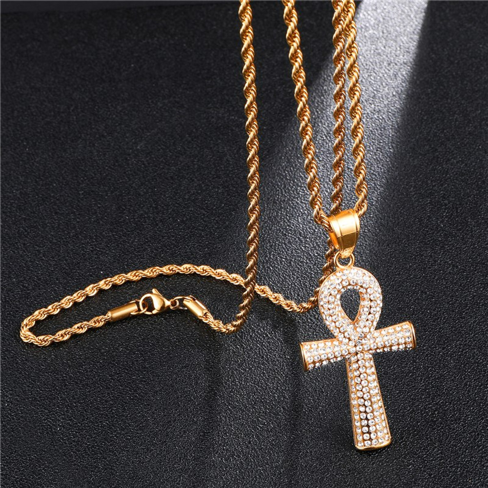 Iced Out Bling Lab Diamond Ankh Cross Pendant