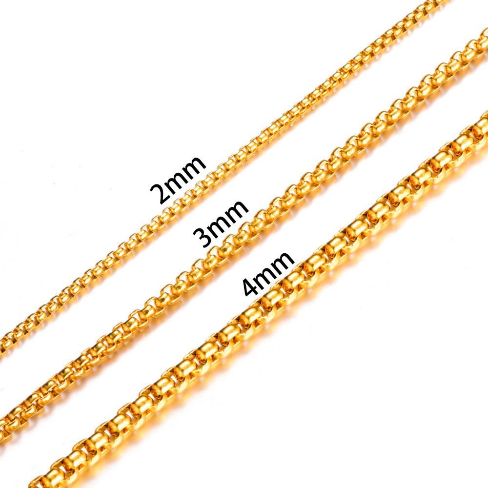 Gold Silver Black 316L Stainless Steel Necklace Mens Box Rolo Link Chain Necklace