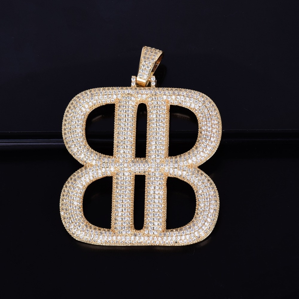 The Big B's Letter Lab Diamond Micro Pave Pendant Chain Necklace