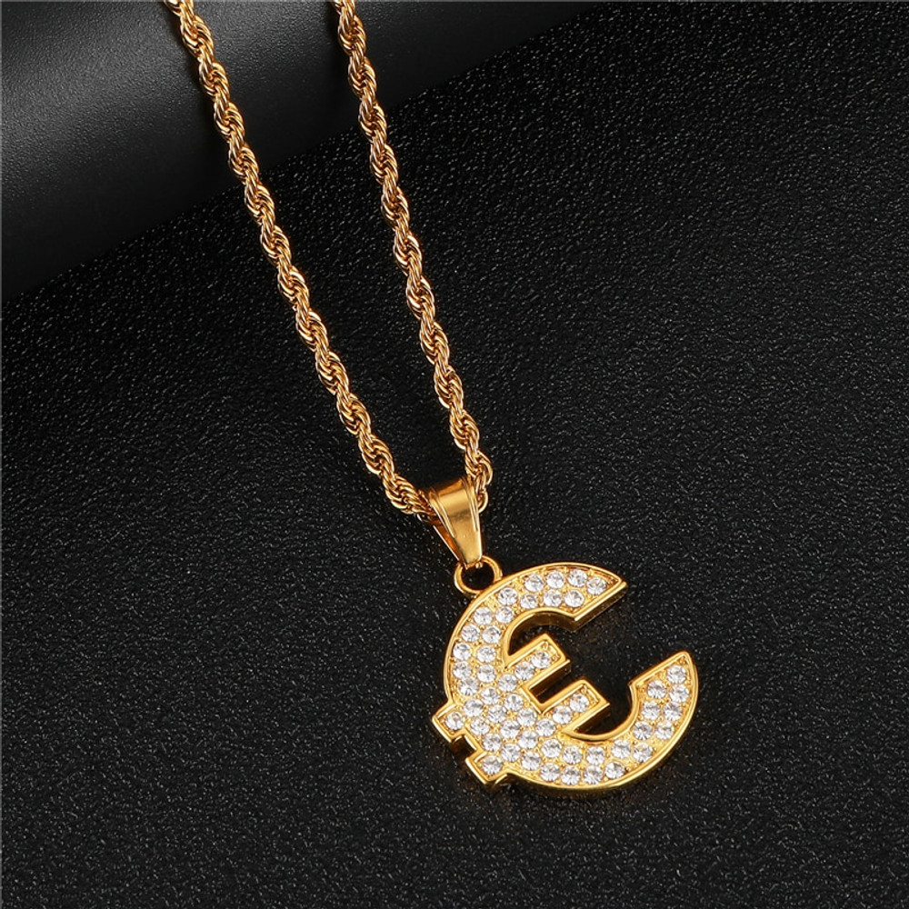 14k Gold Stainless Steel Euro Money Symbol Lab Diamond Pendant