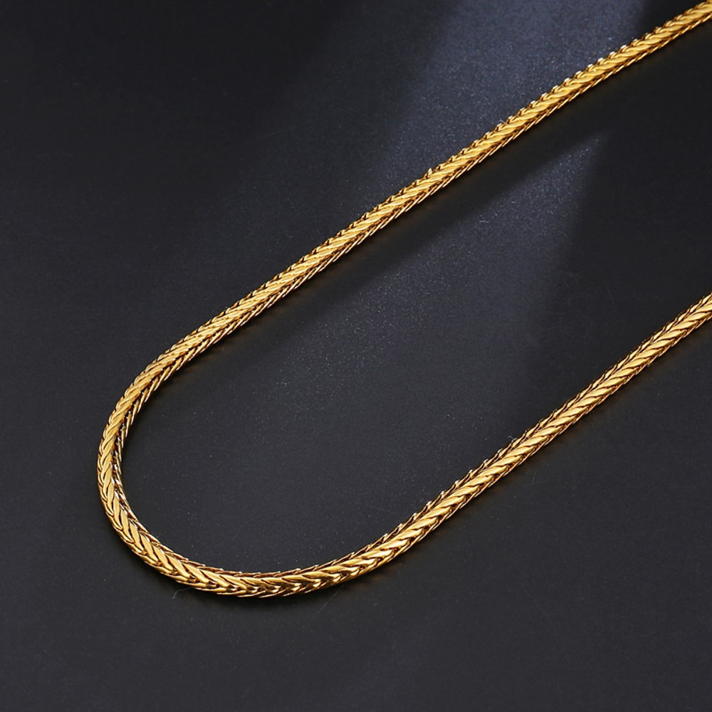 Mens 4MM Stainless Steel 14k Gold Silver Foxtail Franco Twisted Link Chain Necklace