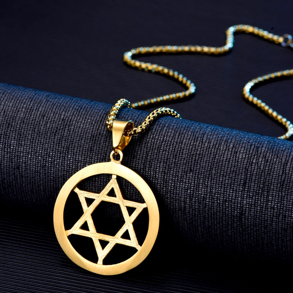 Iced Out 6 Stone Hollow Star of David 14k Gold Stainless Steel Pendant