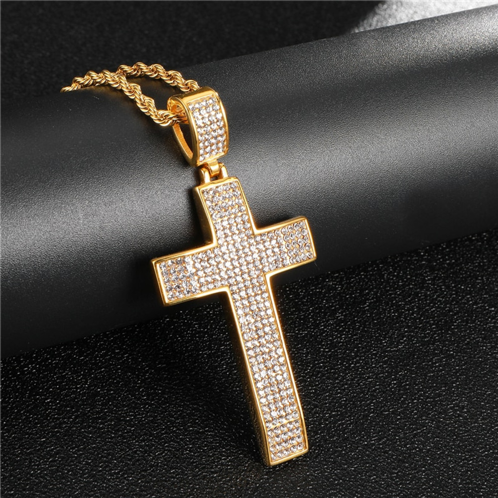 Full Micro Pave Lab Diamond Classic Crucifix Iced Out 14k Gold Silver Stainless Steel Cross Pendant
