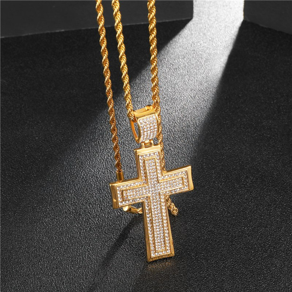 Hip Hop Full Micro Pave 14k Gold Stainless Steel Double Cross