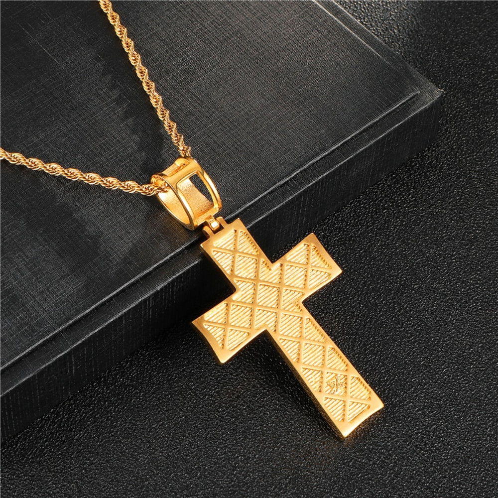 Hip Hop Full Micro Pave 14k Gold Stainless Steel Double Cross Pendant Chain