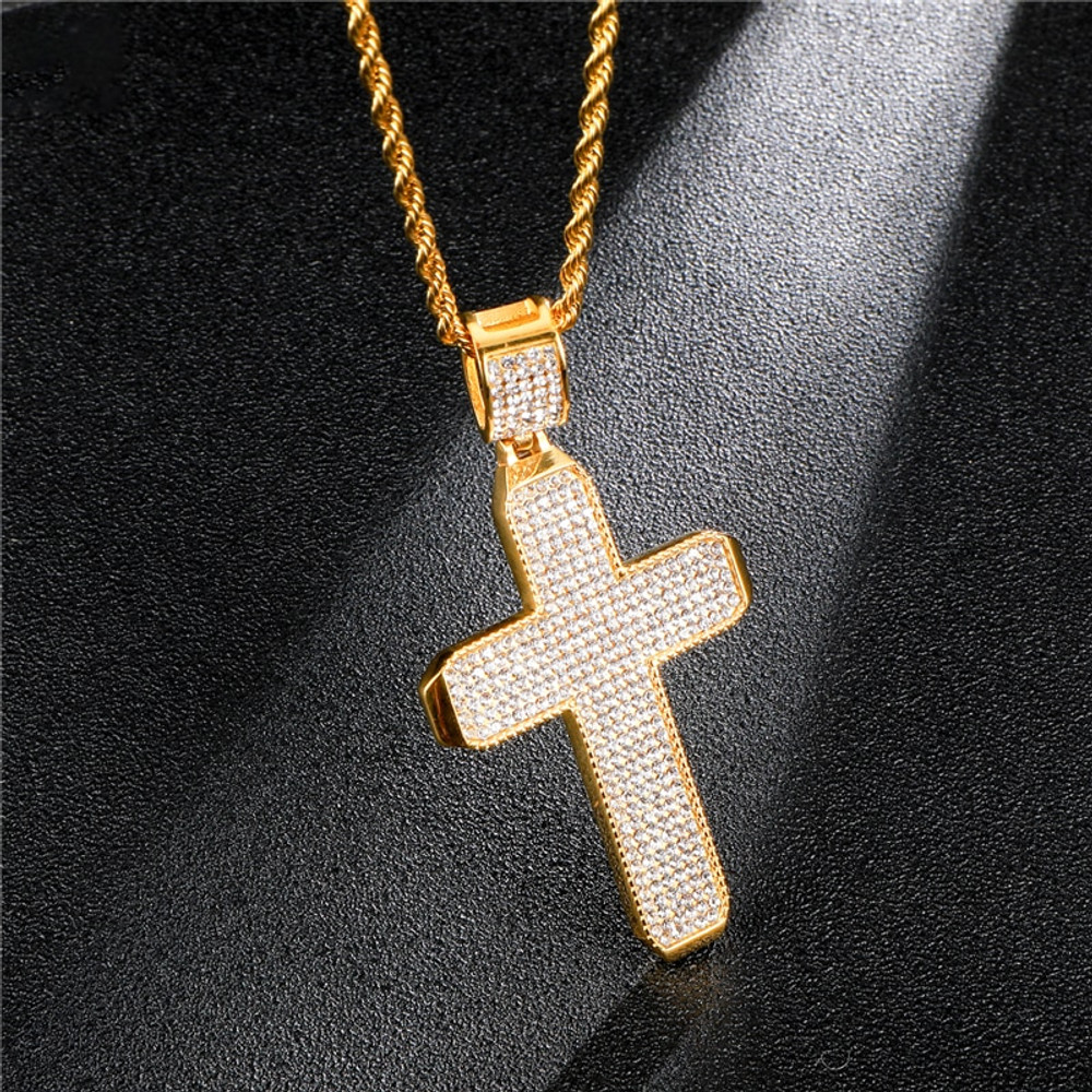 Micro Pave 14k Gold Stainless Steel Square Block Cross