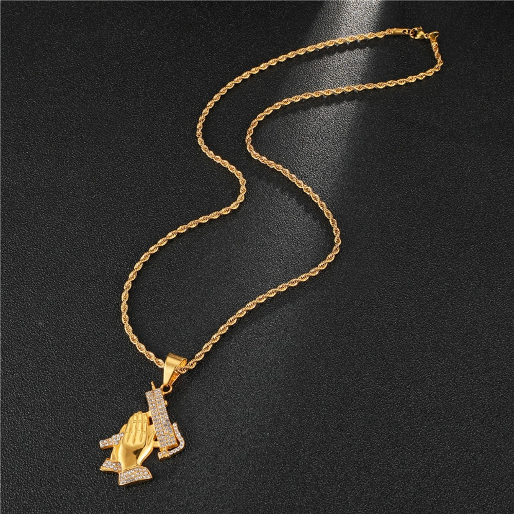 Uzi Machine Micro Pave 14k Gold Stainless Steel Pendant