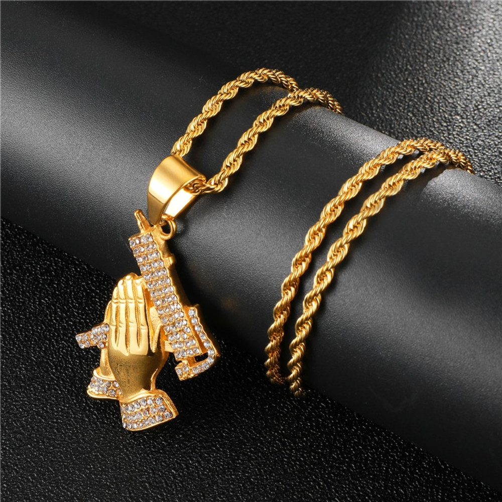 IcedOut Good vs Evil Lords Prayer Hands Uzi Machine Micro Pave 14k Gold Stainless Steel Pendant