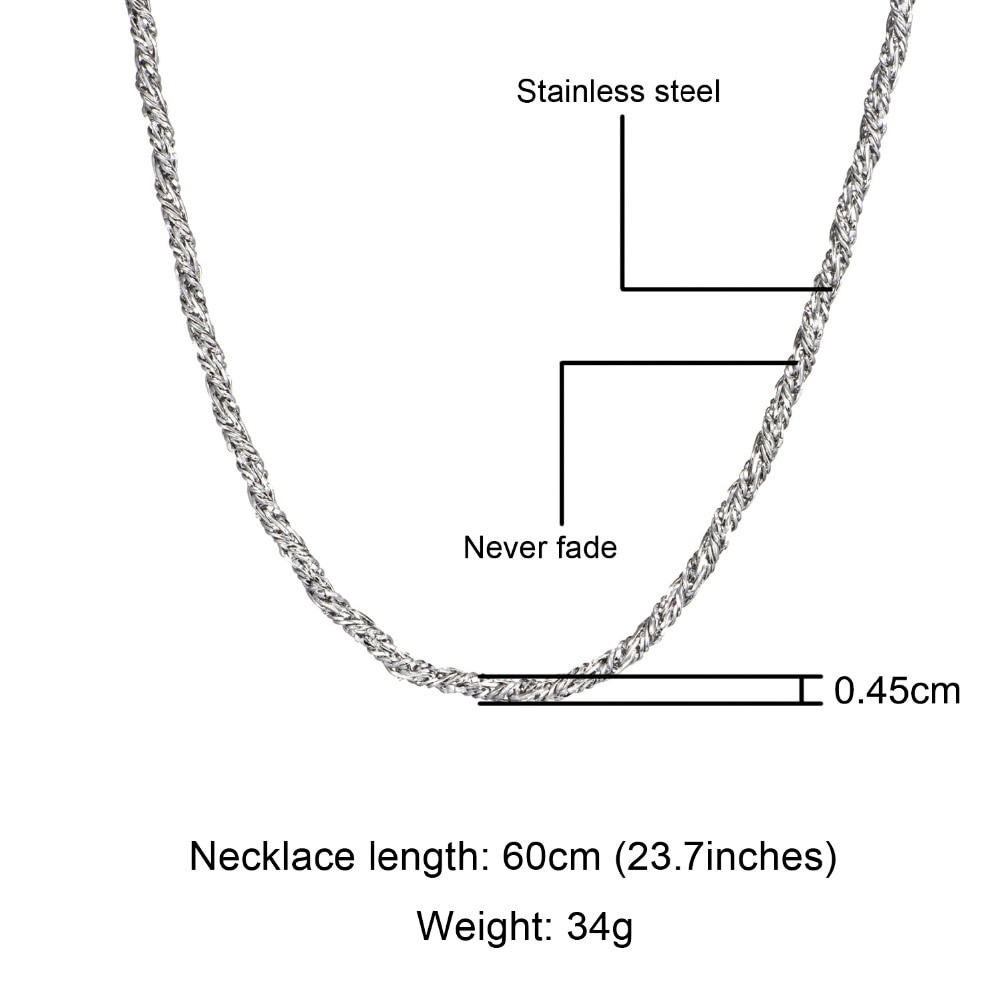 Hip Hop 14k Gold Silver Titanium Stainless Steel 5mm Twisted Rope Chain Necklace