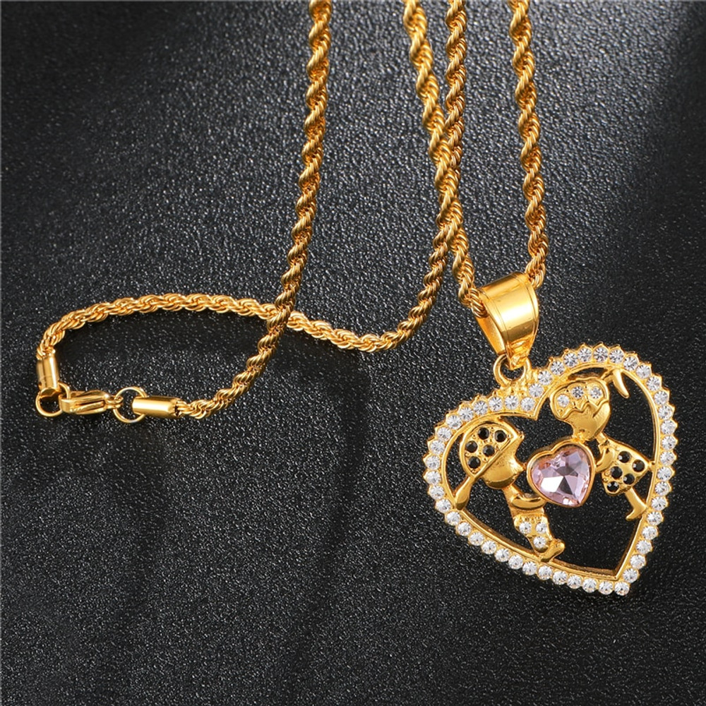 Heart Shape 14k Stainless Steel Girl and Guy Lovers Pendant
