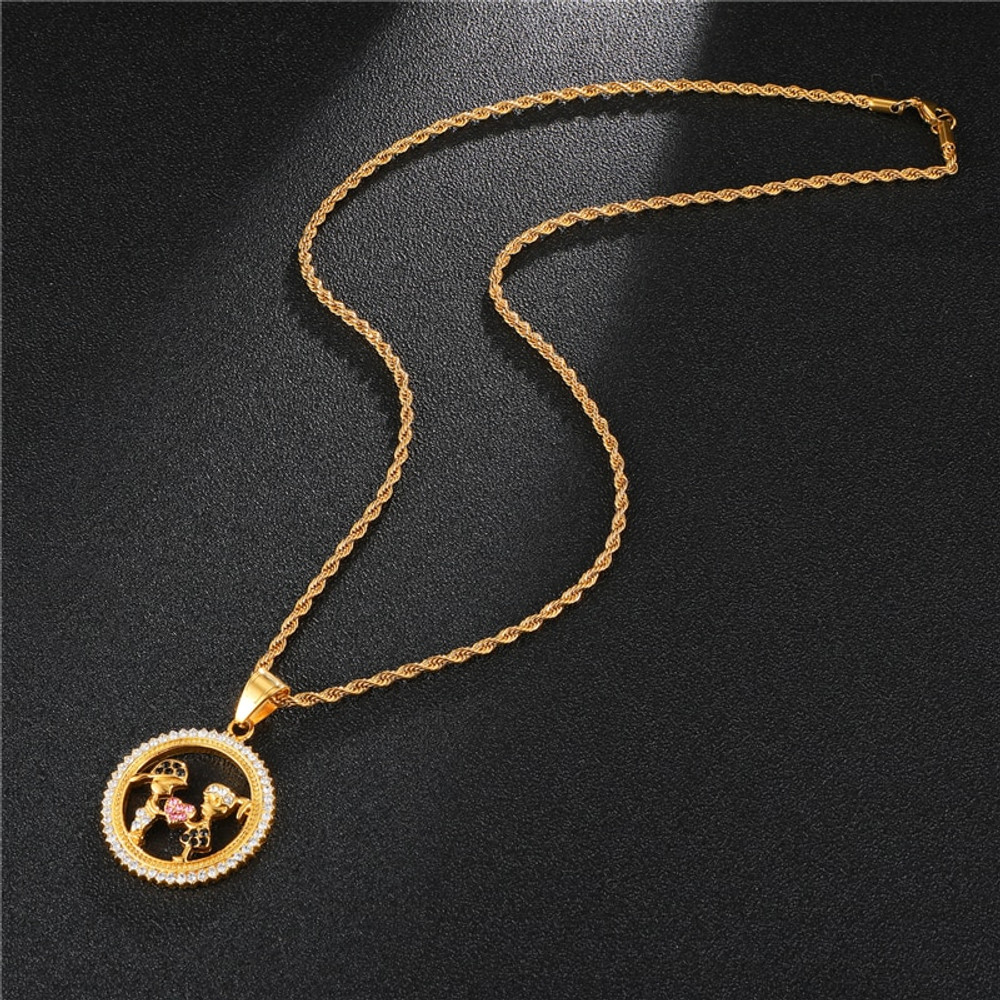 Round Heart Shape Iced Out Lab Diamond Stainless Steel 14k Gold Chain Necklace