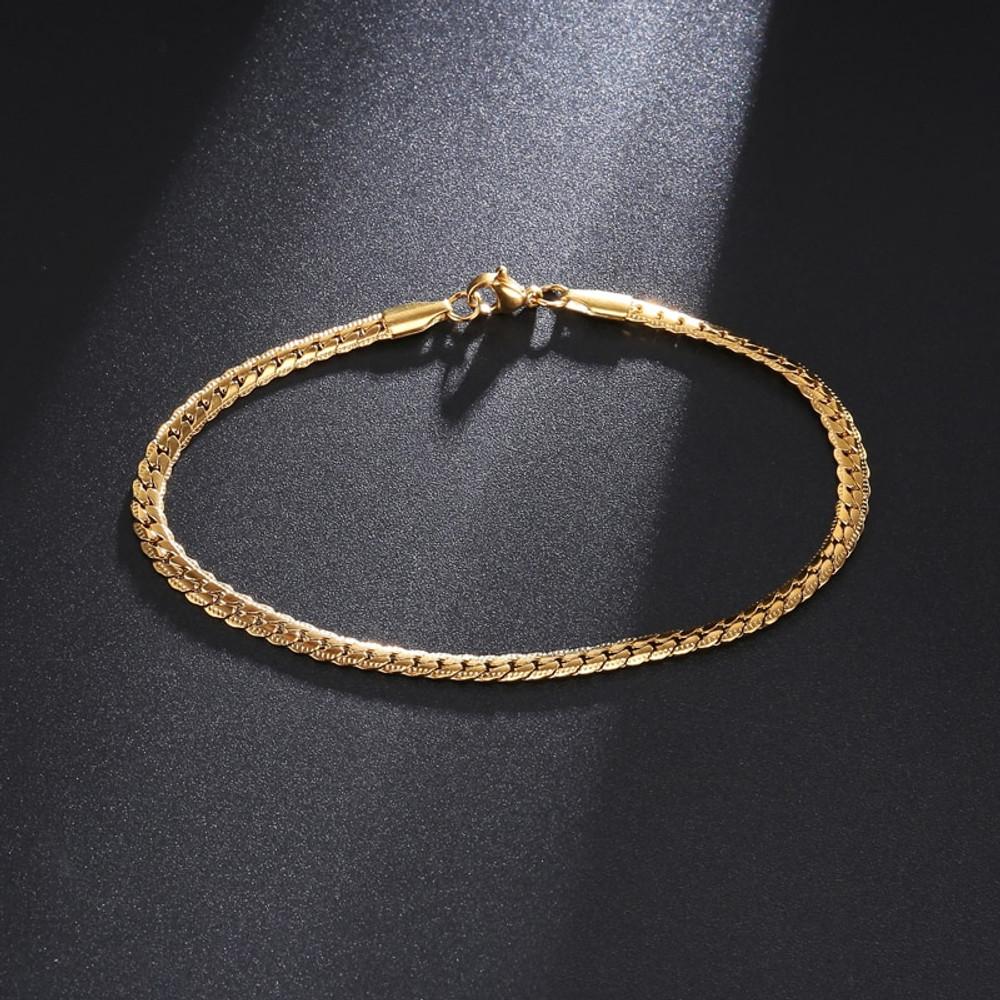 Mens 14k Gold Silver Two Tone Franco Link 4mm 316L Stainless Steel Bracelet