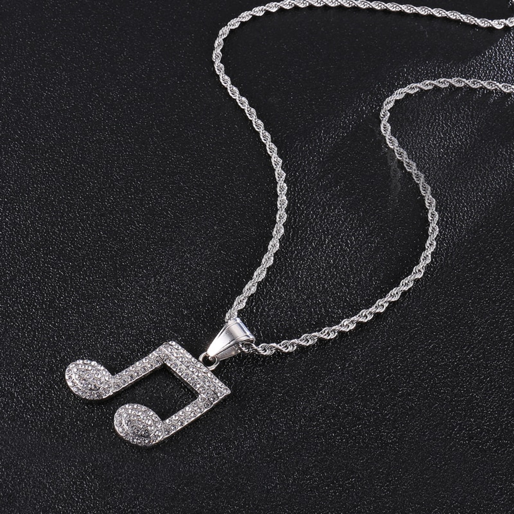 Iced Out Music Note Lab Diamond Stainless Steel Pendant Chain Necklace