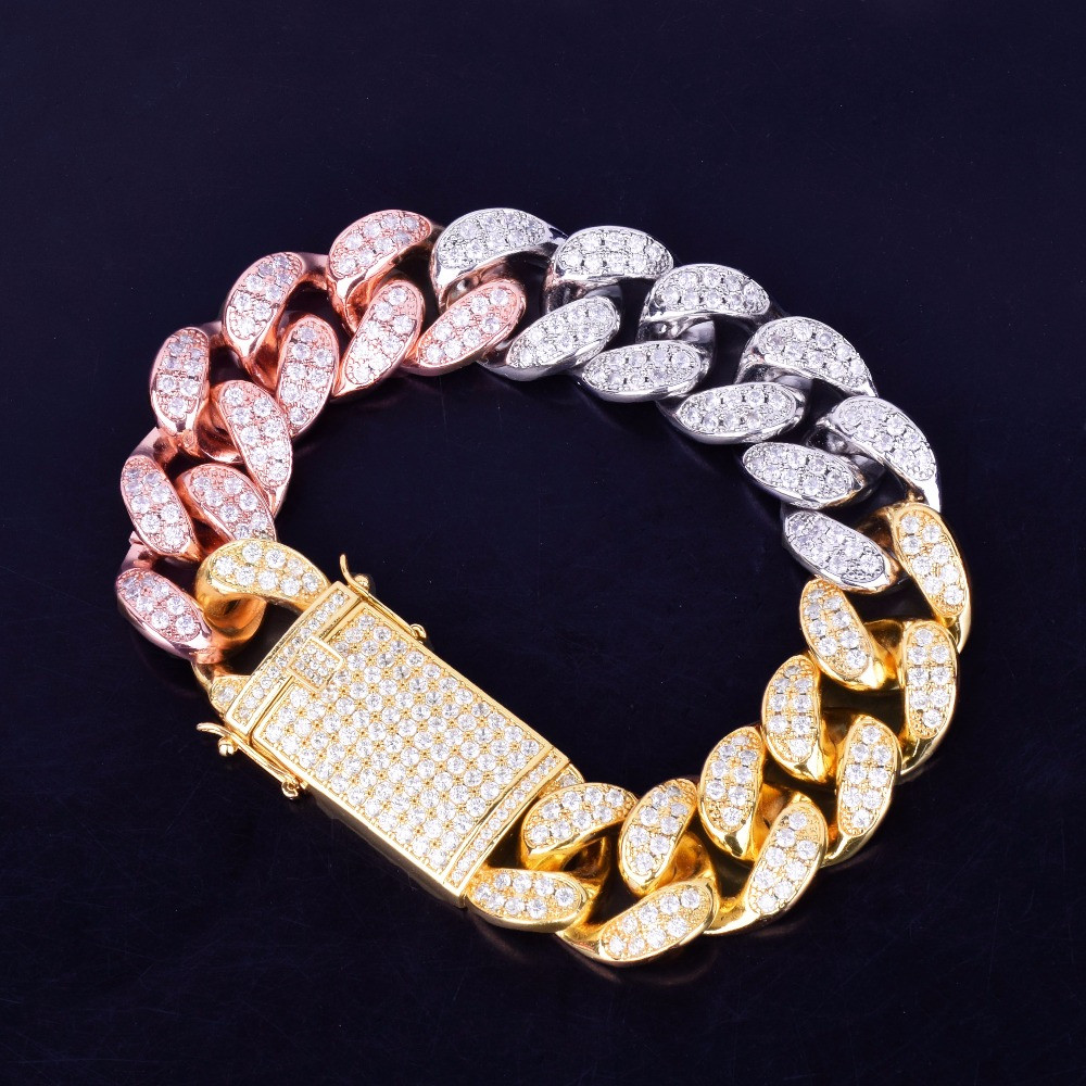 Rose Gold Silver Iced Out Lab Diamond 20mm Miami Cuban Link Chain Bracelet