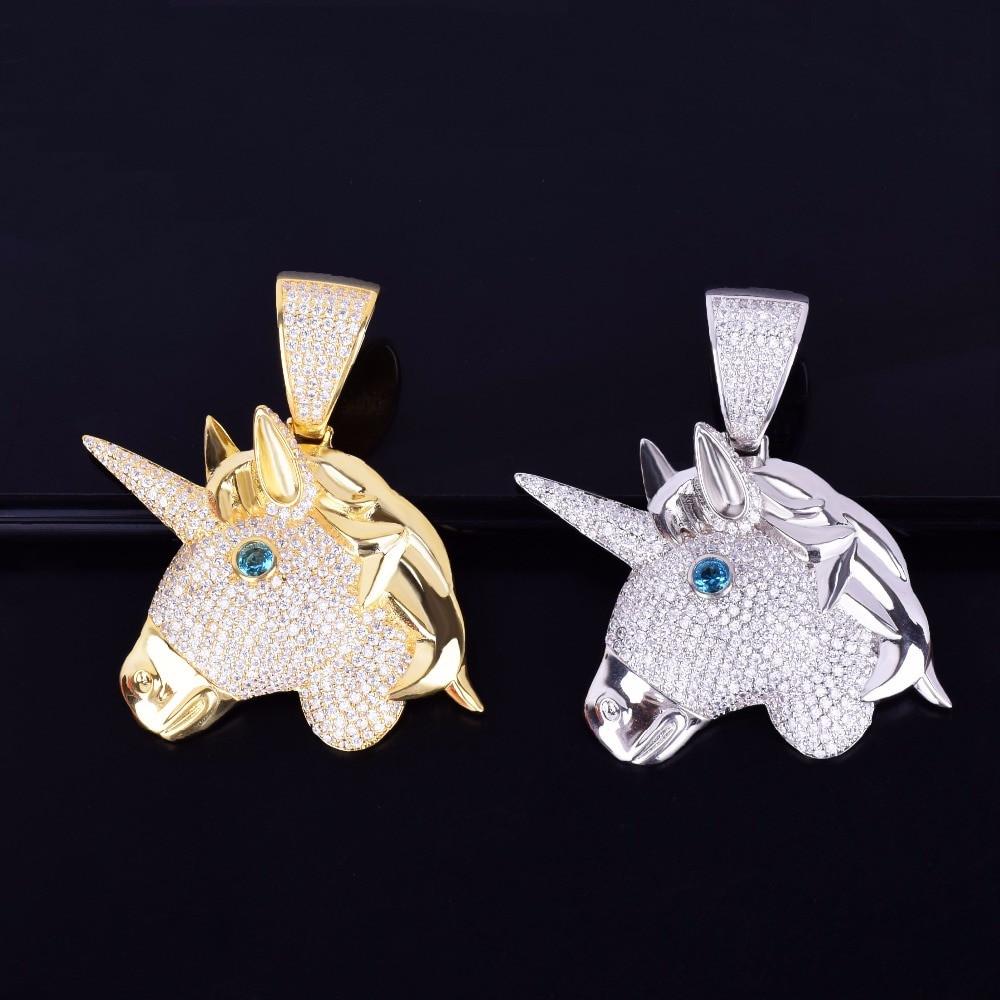 Lab Diamond Iced Out Unicorn Horse