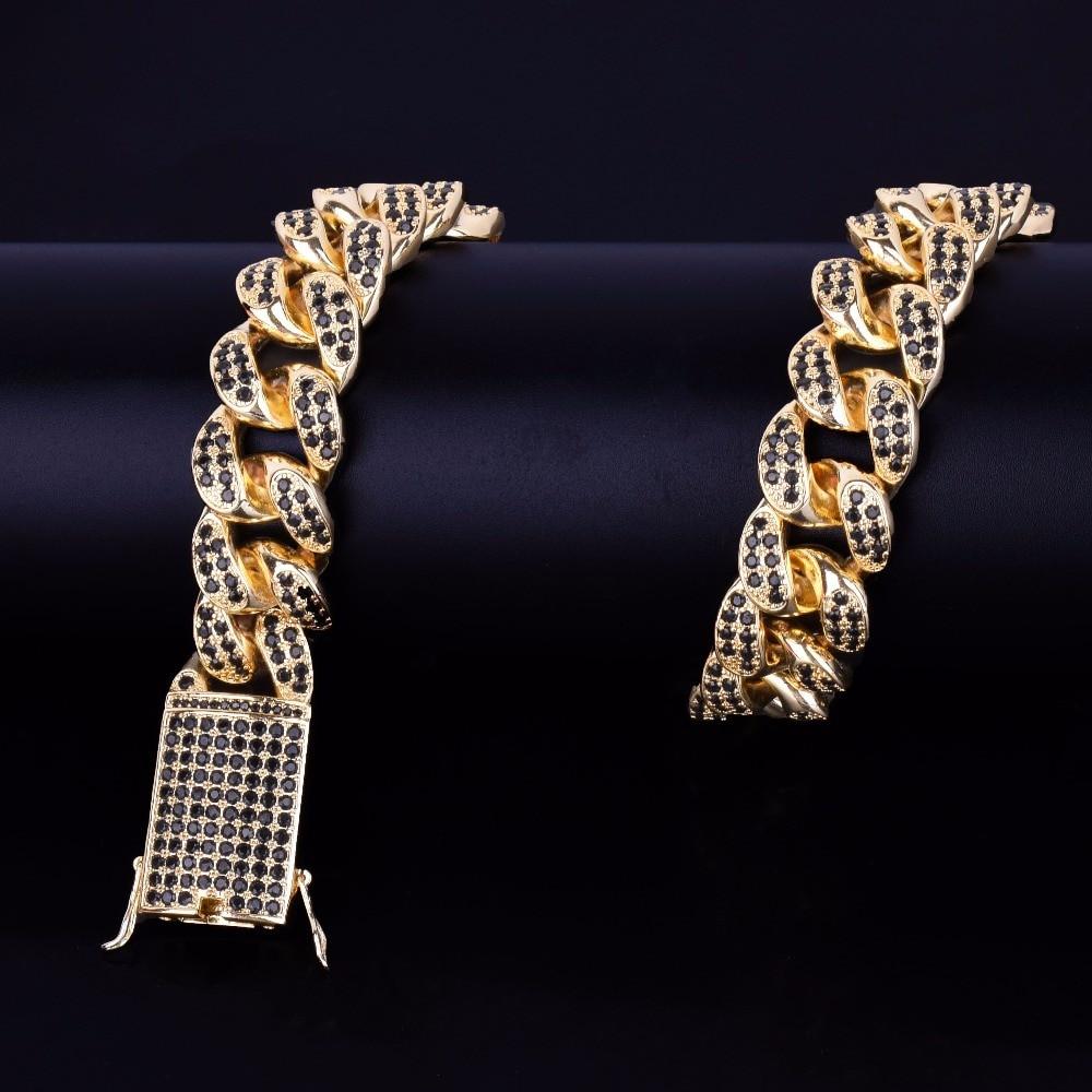 Mens 24k Gold 20mm Heavy Black Lab Diamond Miami Cuban Link Chain Necklace