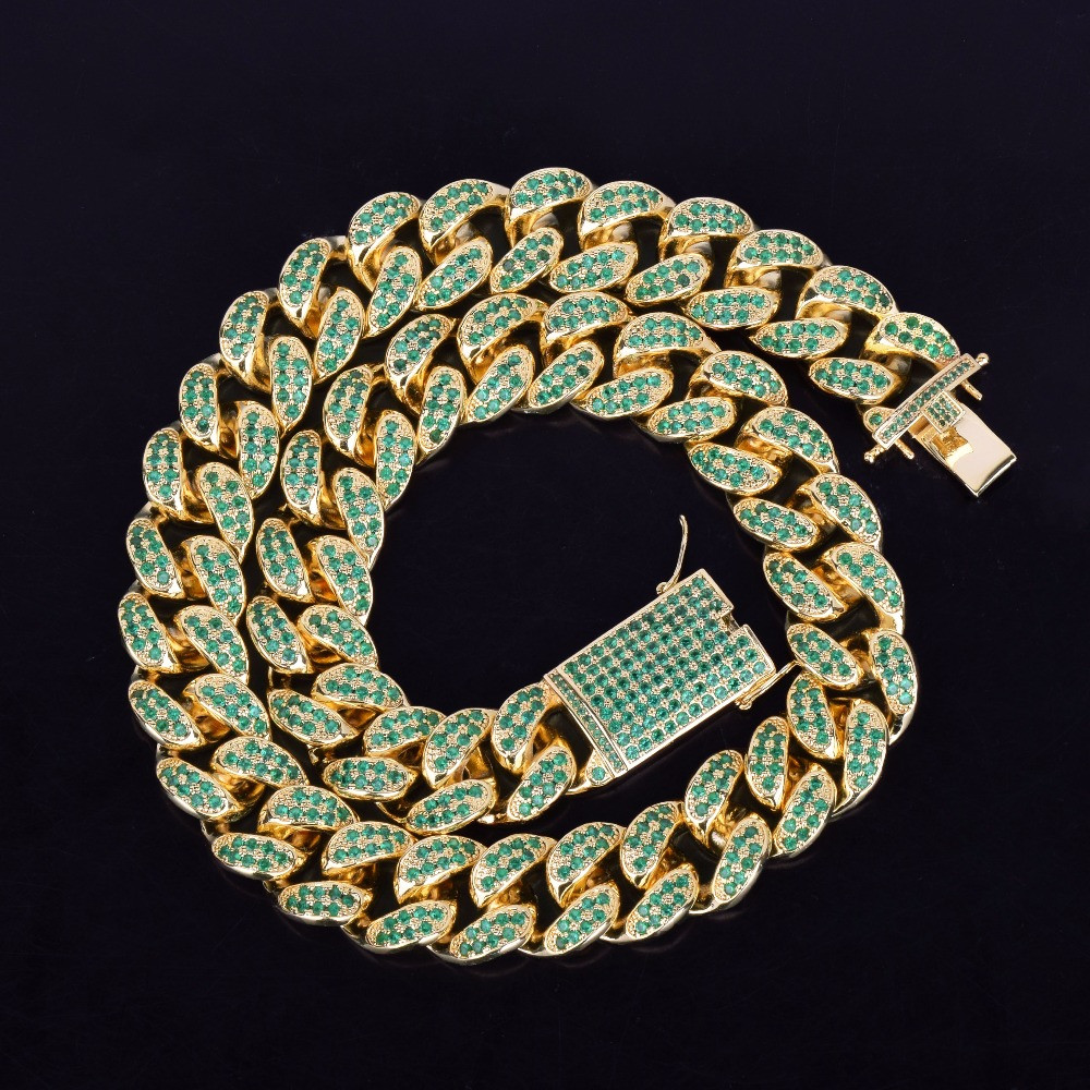 Iced Out 20mm Heavy Green Lab Diamond Bling Miami Cuban Link 14k Gold Chain Necklace