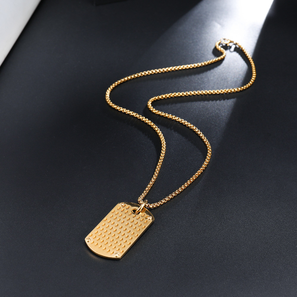 14k Gold Stainless Steel Double Dog Tag Iced Out Pendant Chain Necklace