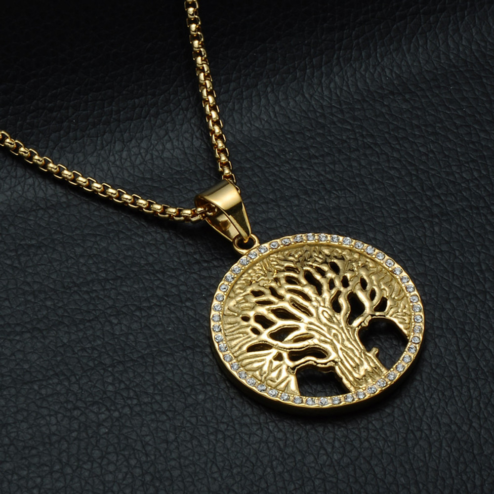 Bling Iced Out Micro Pave Tree of Life 14k Gold Stainless Steel Pendant