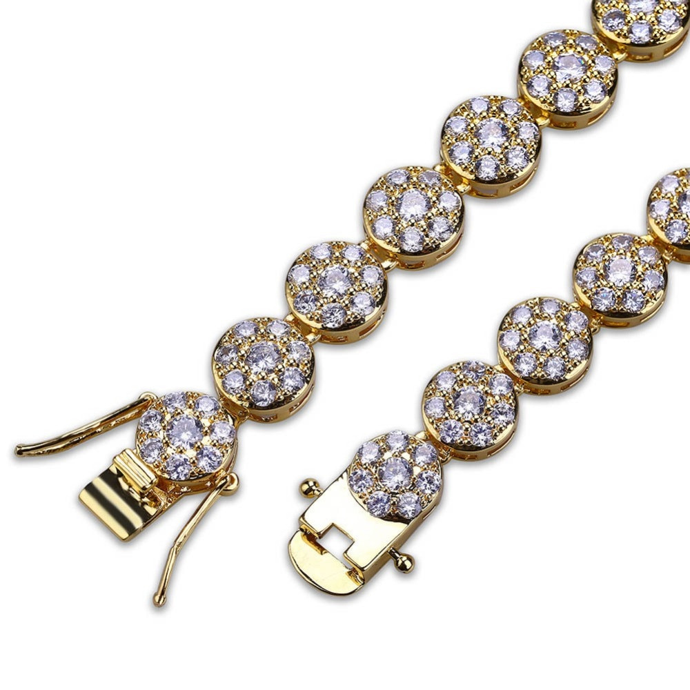 Hip Hop Bling Iced Out Cluster Stone 14k Gold .925 Silver 1 Row Lab Diamond Stone Chain