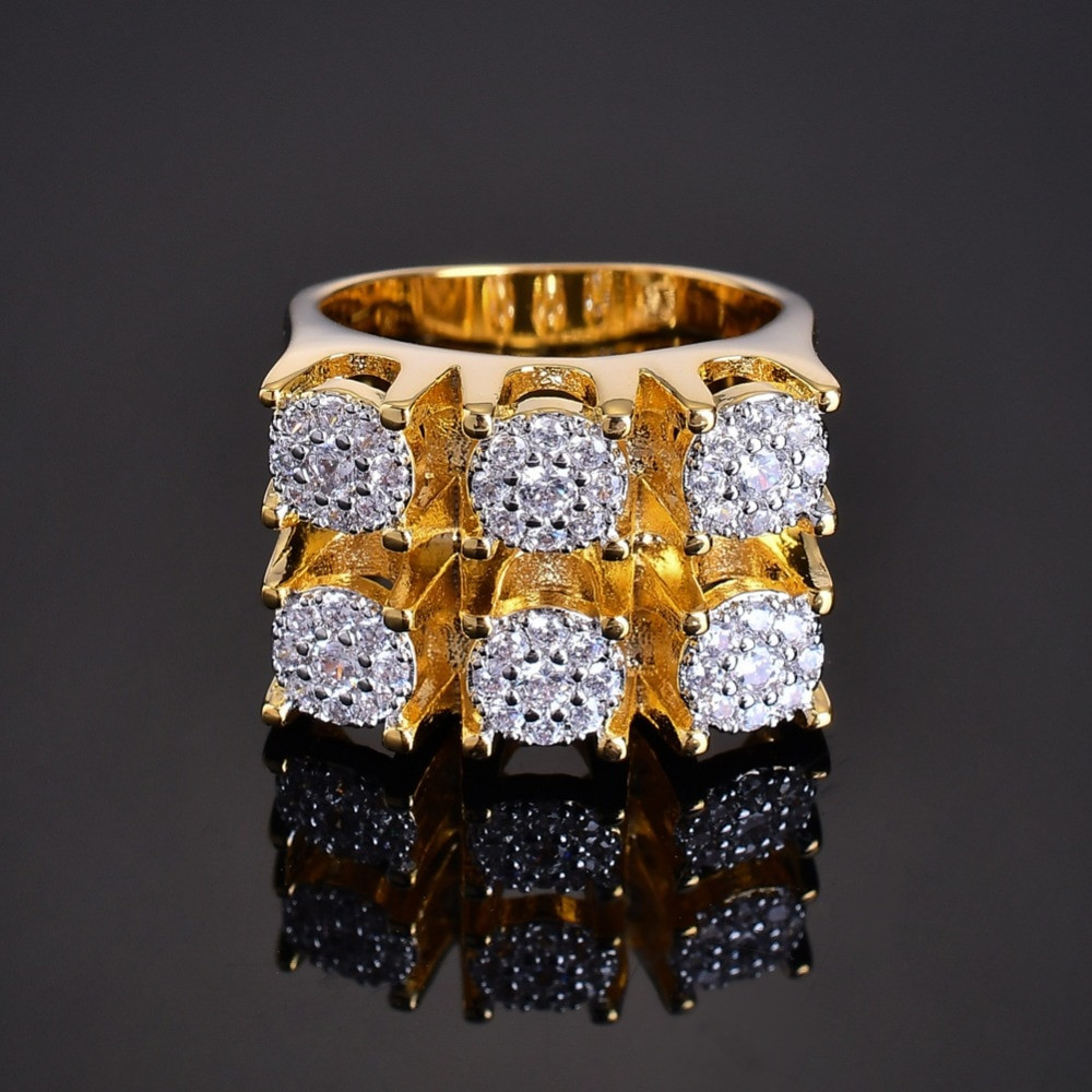 Micro Pave AAA Stone 14k Gold Six Shooter Iced Out Ring