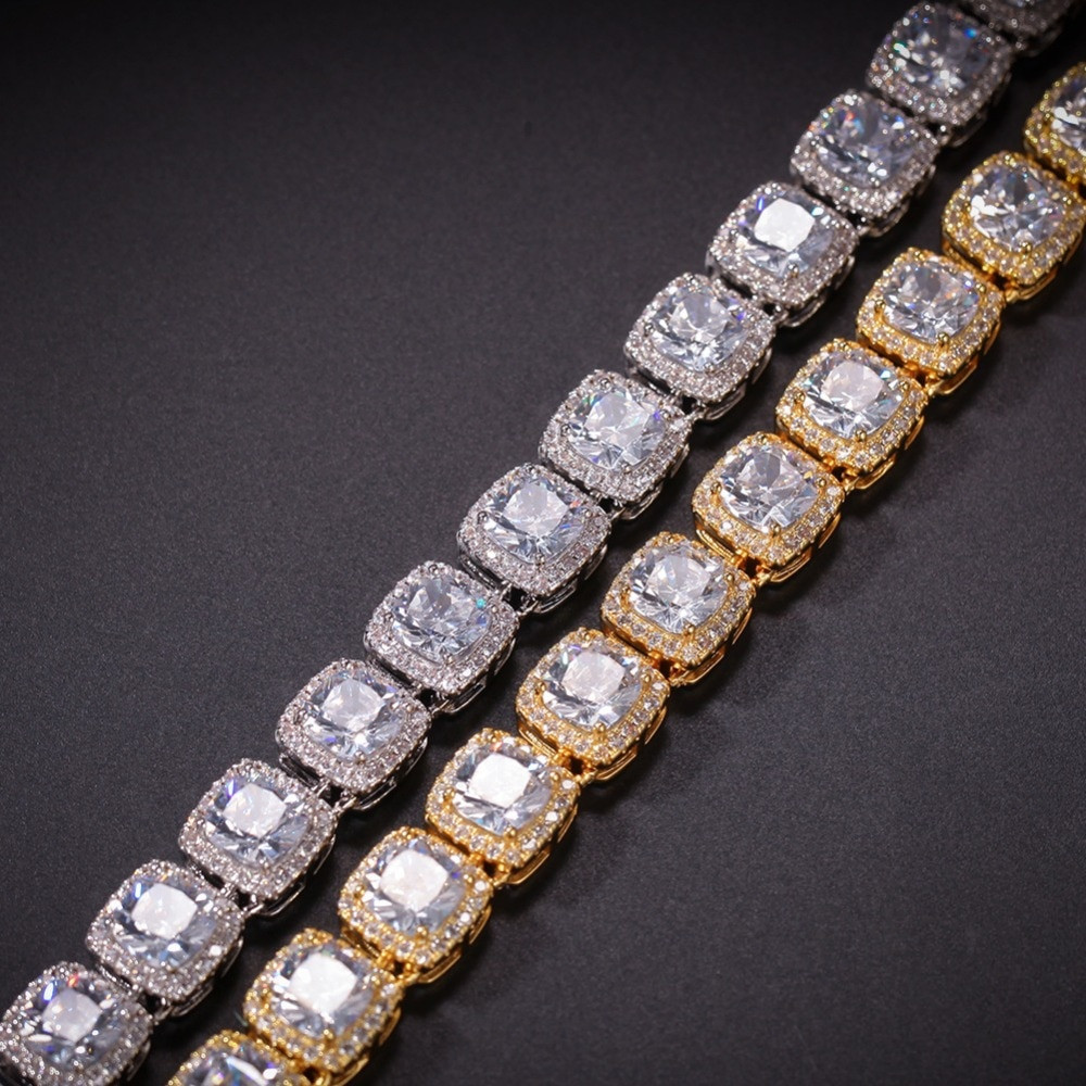 Mens Iced Out 1 Row 10mm Hip Hop Bling Star Studded Big Stone 4 Pronged Bracelet