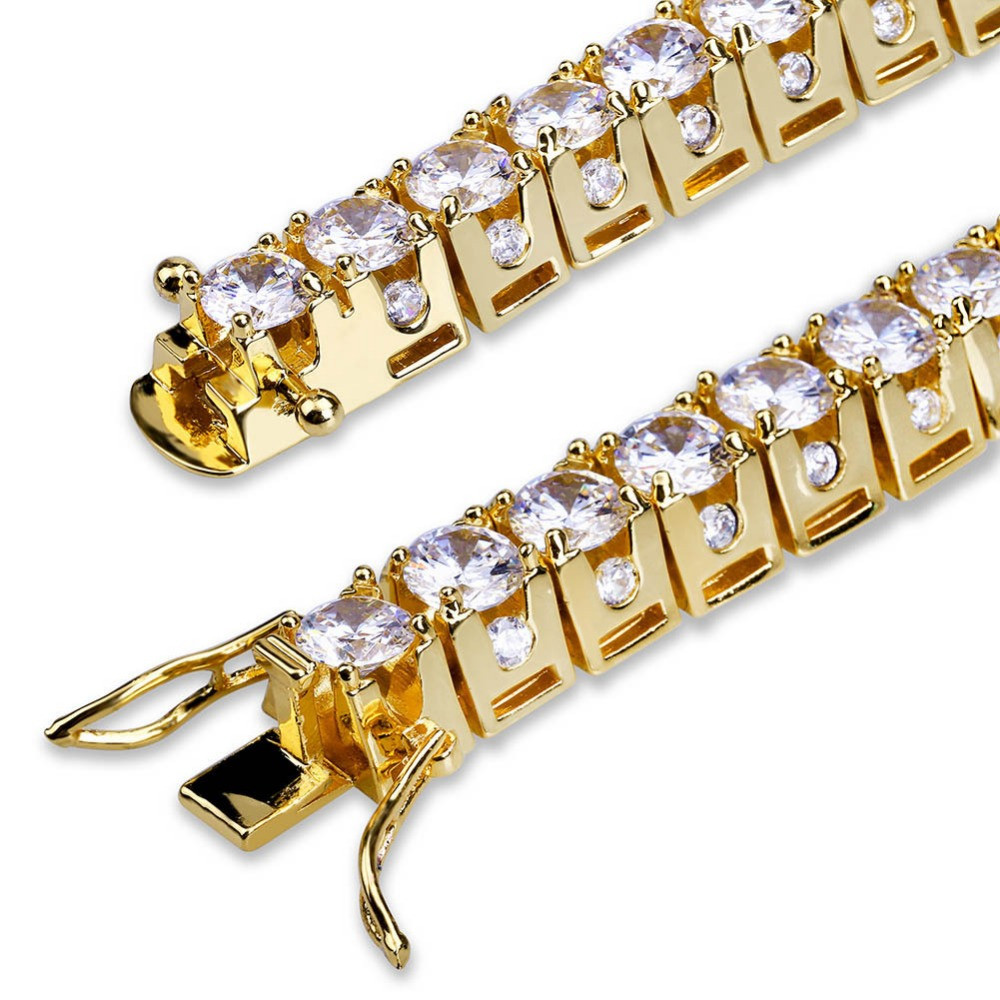 Hip Hop Bling Iced Out 1 Row 14k Gold Silver Lab Diamond Tennis Bracelet