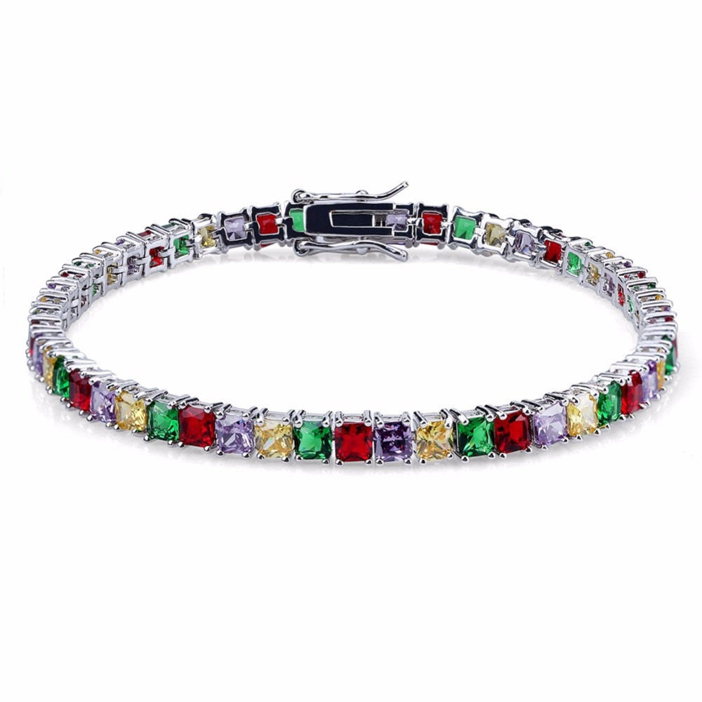 Candy Mixed Color Stone Lab Diamond Bling Bling Tennis Bracelet
