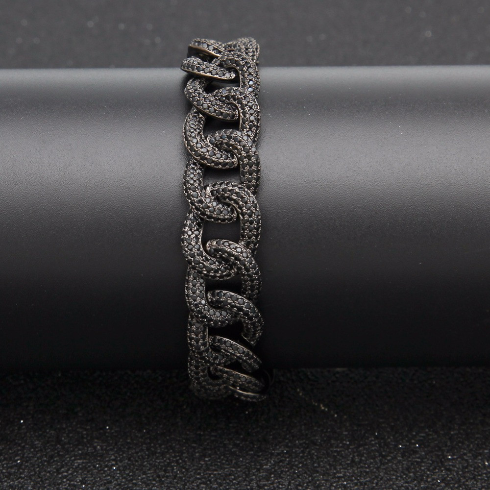 Hip Hop AAA Lab Diamond Micro Paved Bling Iced Out Miami Cuban Link Bracelet