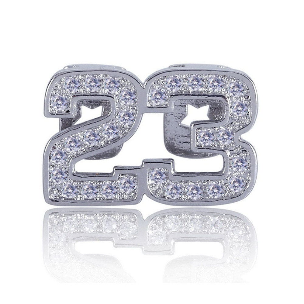Hip Hop Micro Pave Lab Diamond Bling Iced Out Number 23 Single Teeth Grillz
