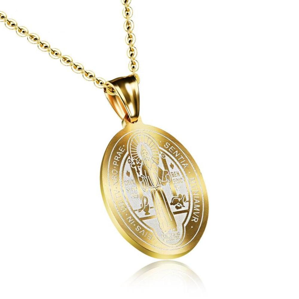 Catholic Patron Saint St Benedict of Nursia Holy Medal Round Pendant Necklace