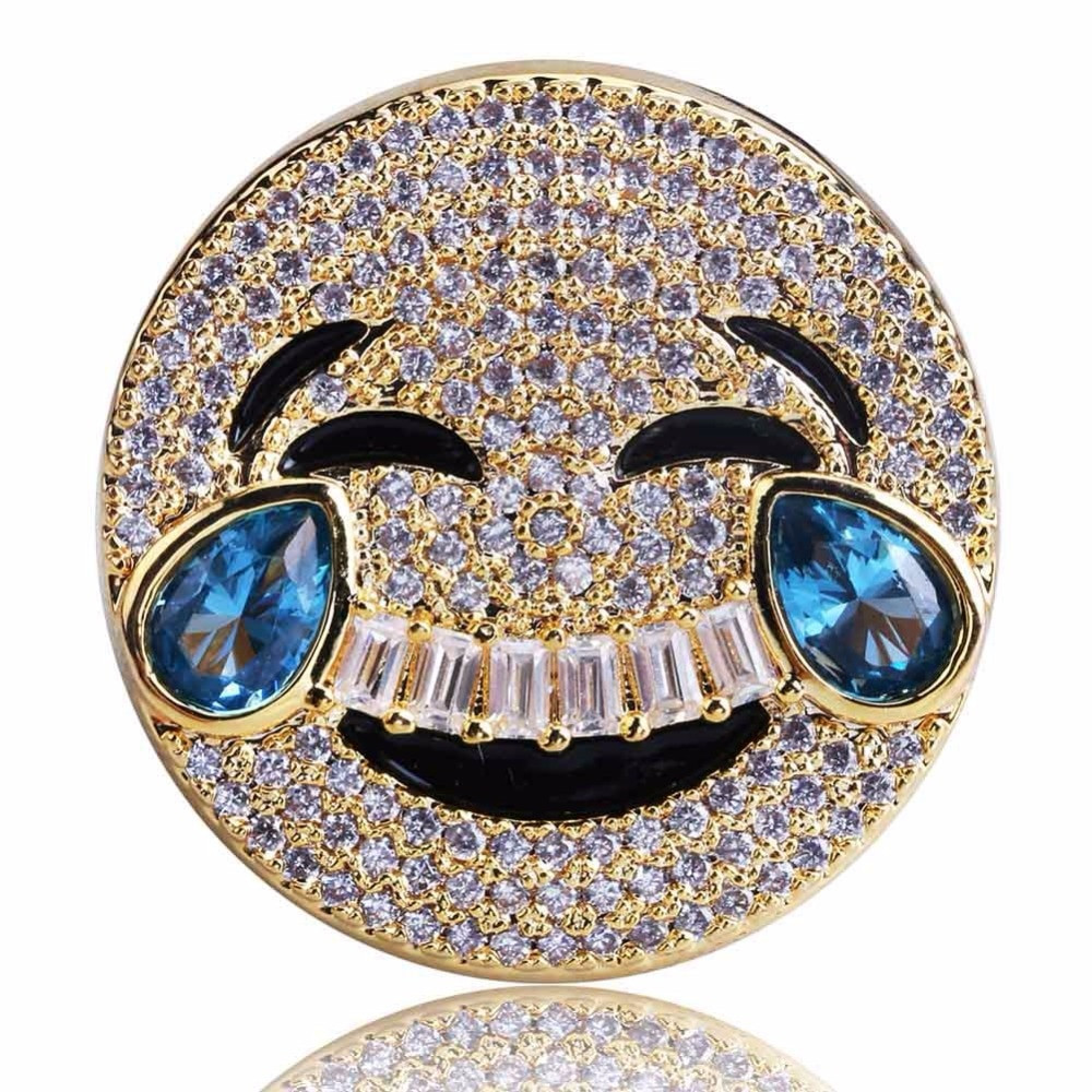 Emoji AAA Lab Diamond Stone Iced Out 14k Gold Silver Ring