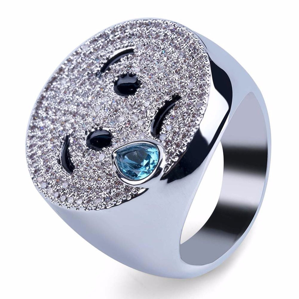 Mens Hip Hop Emoji AAA Lab Diamond Stone Iced Out 14k Gold Silver Ring