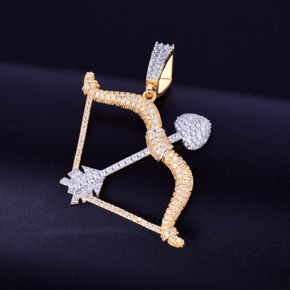 Bow and Arrow 18k Gold AAA True Micro Pave Hip Hop Pendant Chain Necklace
