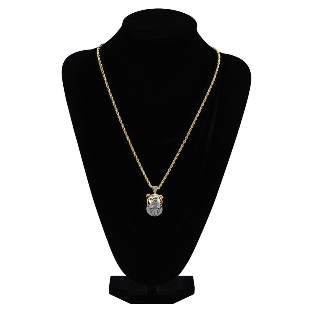 14k Gold Little Bull Dog Head Hip Hop Pendant Chain Necklace