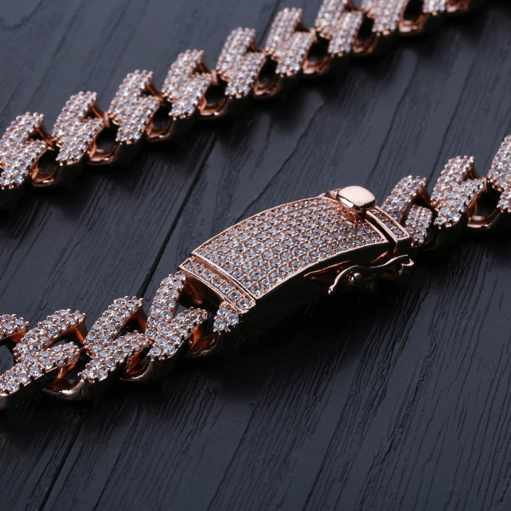 Micro Pave Lab Diamond 14mm Miami Cuban Link Rose Gold Silver Hip Hop Chain Necklace