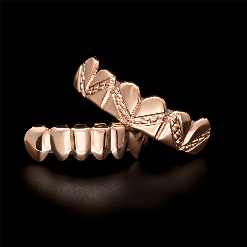 Rose Gold Silver Hip Hop Stripe Teeth Bottom Top Grill Set