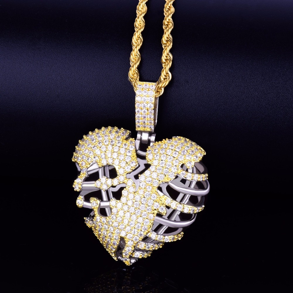 Gold Two Iced Heart Pendant
