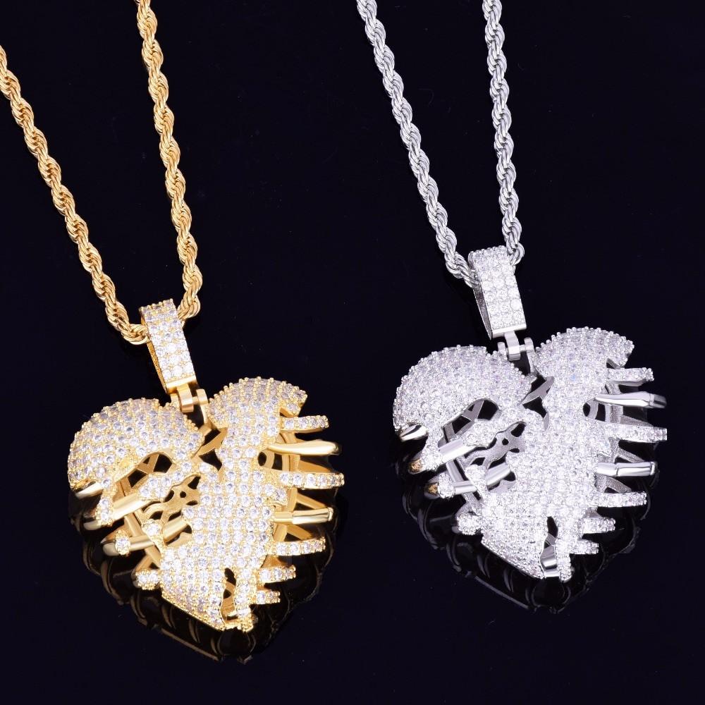 Hip Hop Lab Diamond Skeleton Heart Pendant