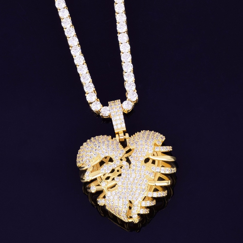Micro Pave Lab Diamond 14k Gold .925 Silver Skeleton Heart Medallion Pendant Chain Necklace