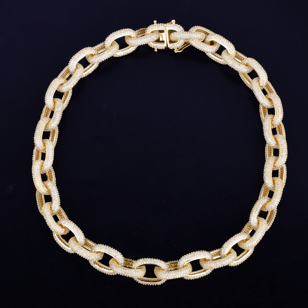 20mm Iced Heavy Hip Hop Punk 14k Gold Silver Bling Chain Choker