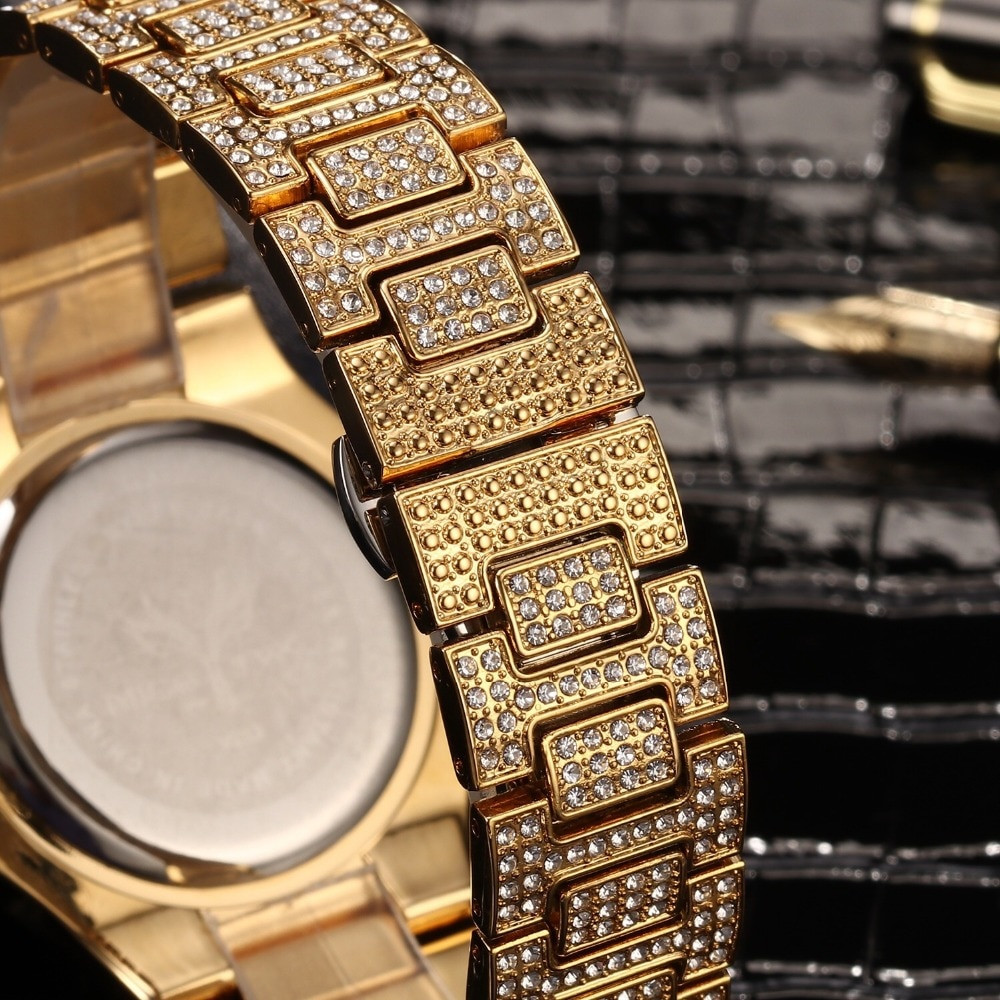 Hip Hop Mens Lab Diamond Luxury 14k Gold Stainless Steel Iced Bling Watch