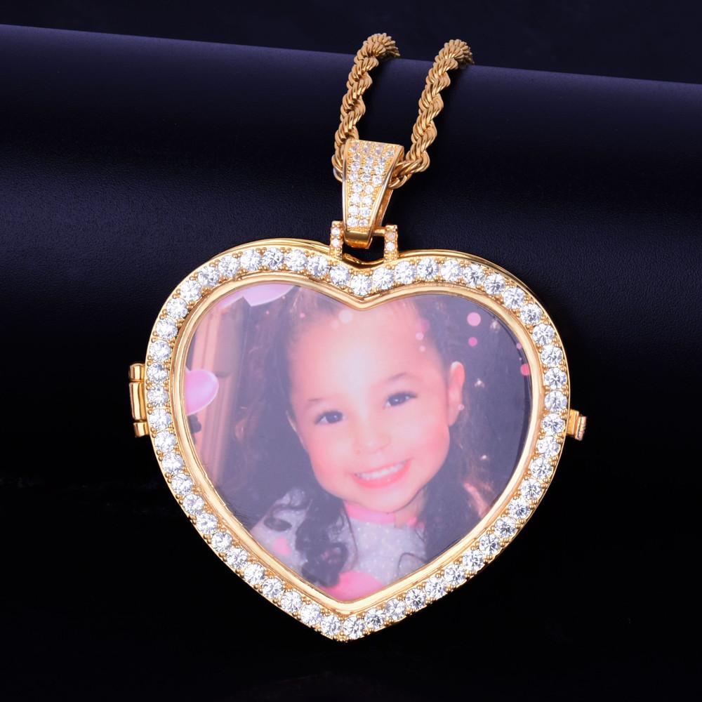 Custom Made Photo Heart Lab Diamond Medallion Pendant Chain Necklace