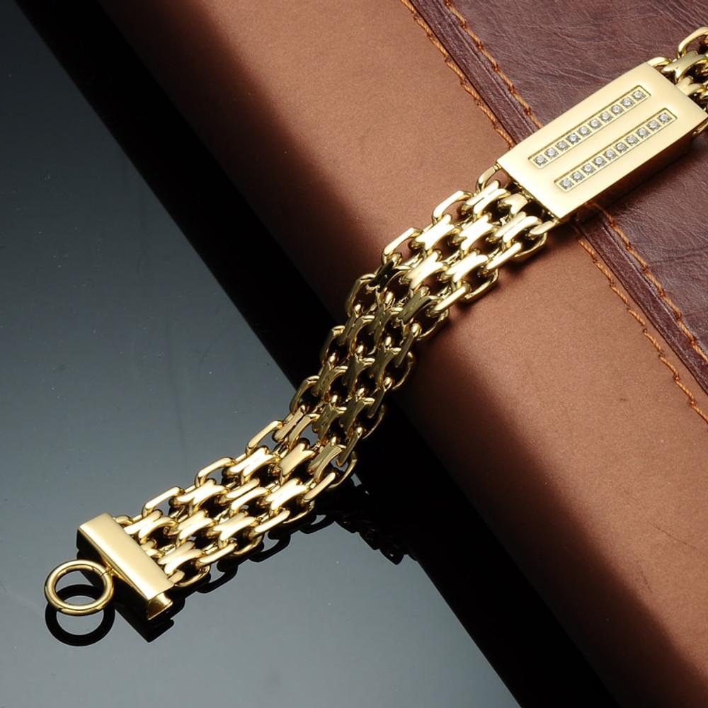 14k Gold Stainless Steel Bling Bracelet